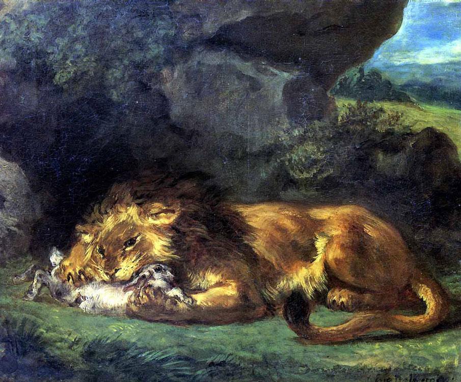 Лев, пожирающий кролика