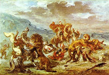Живопись Делакруа - Охота на львов