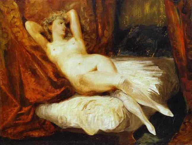Обнаженная женщина, отдыхающая на диване. (Женщина в белых чулках)