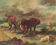 Живопись Эжена Делакруа - Маррокканец и его конь