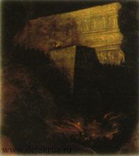 Охваченная огнем башня