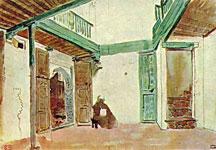 Акварель Эжена Делакруа - Внутренний двор марокканского дома