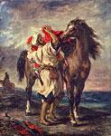 Живопись Делакруа - Марокканец, седлающий коня