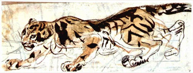 Эжен Делакруа. Тигр слева. (Набросок)