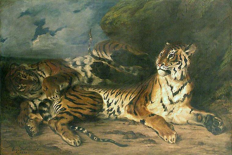Молодой тигр, играющий со своей матерью