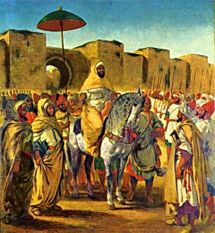 Мулей Абдер-Рахман в окружении телохранителей и принцев