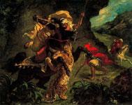 Работа Эжена Делакруа - Охота на тигра