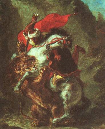 Арабский всадник, сражающийся со львом