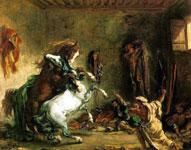 Живопись Эжена Делакруа - Схватка арабских жеребцов в конюшне