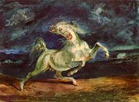 Акварель Делакруа - Лошадь, испуганная молнией.