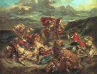 Картина Делакруа - Охота на львов