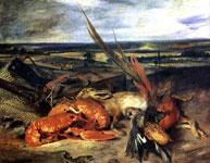 Работа Делакруа - Натюрморт с омаром, охотничьими трофеями и уловом.
