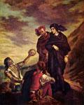 Картина Делакруа - Гамлет и Горацио на кладбище