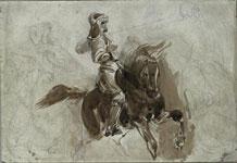Эжен Делакруа. Бронированная фигура на лошади.