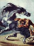 Живопись Делакруа - Тигр, напавший на лошадь