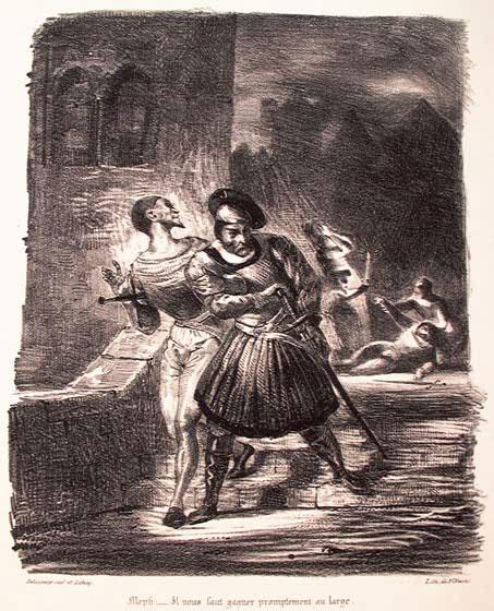 Мефистофель и Фауст, убегающие после дуэли.