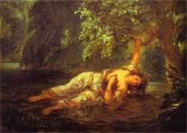 Картина Эжена Делакруа - Смерть Офелии