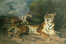 Живопись Эжена Делакруа - Молодой тигр, играющий со своей матерью