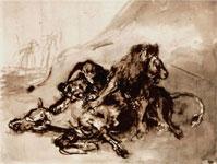 Эжен Делакруа. Львы раздирающие коня.