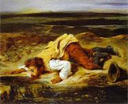 Работа Делакруа - Смертельно раненый разбойник, утоляющий жажду