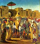 Мулей Абдер-Рахман в окружении телохранителей и принцев.