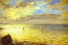 Живопись Эжена Делакруа - Вид моря с вершин Дьеппа