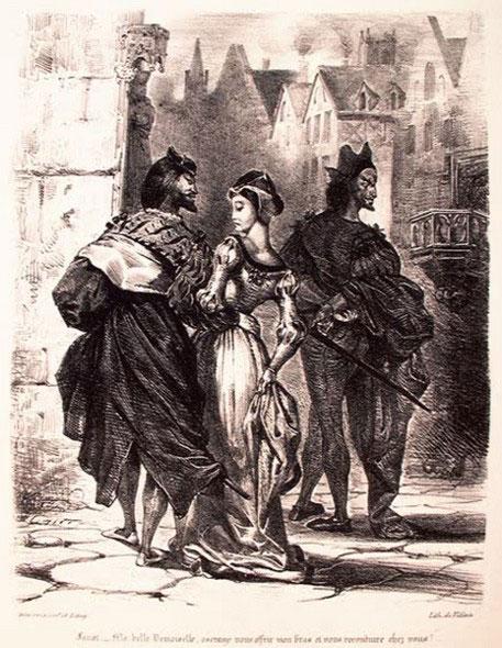 Фауст, соблазняющий Маргариту.